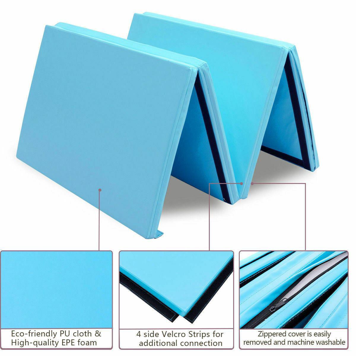 "Picture of Folding Gymnastics Mat Blue - 4' x 8' x 2"""