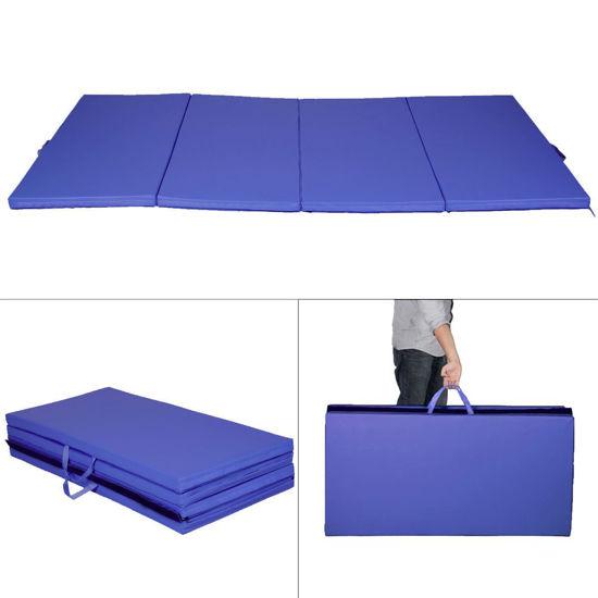 "Picture of Folding Tumbling Gymnastics Mat Blue - 4' x 8' x 2"""