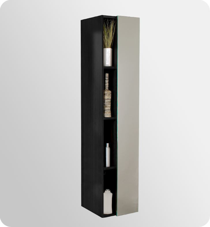 Picture of Fresca Black Bathroom Linen Side Cabinet w/ 4 Cubby Holes & Mirror