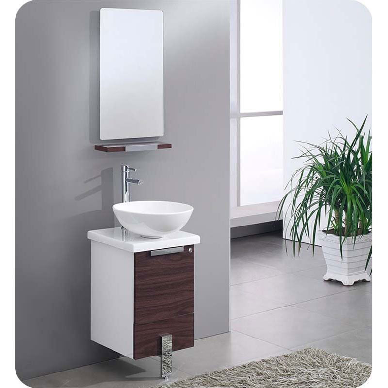 "Picture of Fresca Adour 16"" Dark Walnut Modern Bathroom Vanity with Mirror"