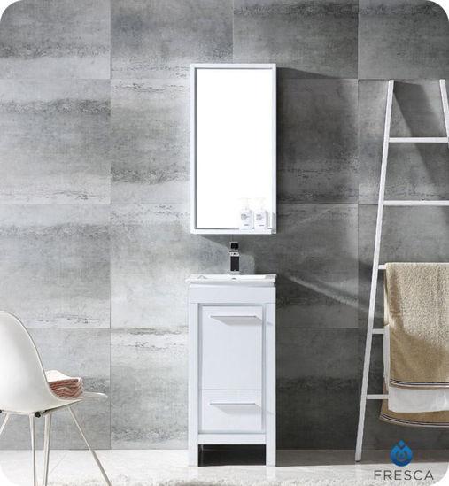 """Picture of Fresca Allier 16"""" White Modern Bathroom Vanity w/ Mirror"""