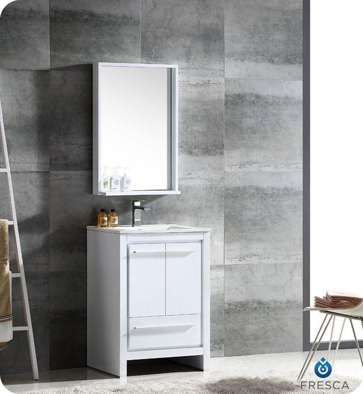 """Picture of Fresca Allier 24"""" White Modern Bathroom Vanity w/ Mirror"""