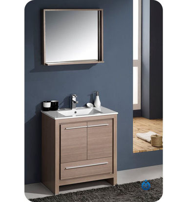 "Picture of Fresca Allier 30"" Gray Oak Modern Bathroom Vanity with Mirror"