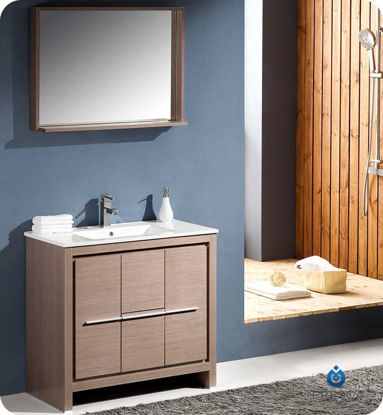 "Picture of Fresca Allier 36"" Gray Oak Modern Bathroom Vanity with Mirror"