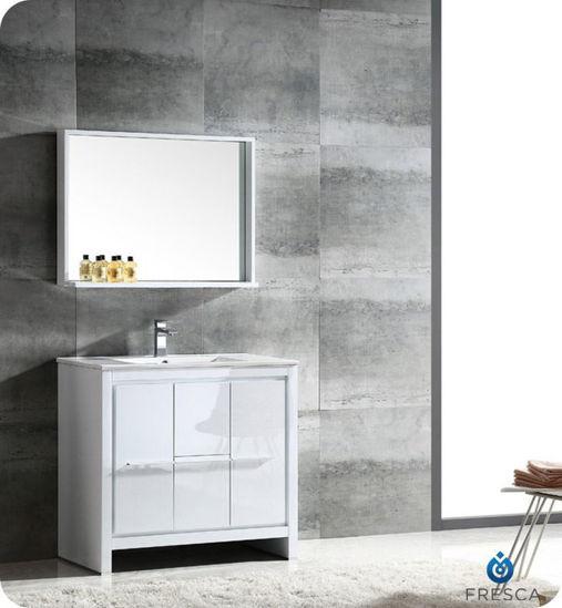 """Picture of Fresca Allier 36"""" White Modern Bathroom Vanity w/ Mirror"""