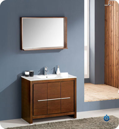 "Picture of Fresca Allier 40"" Wenge Brown Modern Bathroom Vanity w/ Mirror"