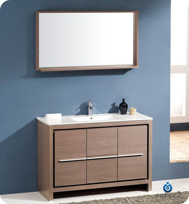 "Picture of Fresca Allier 48"" Gray Oak Modern Bathroom Vanity w/ Mirror"