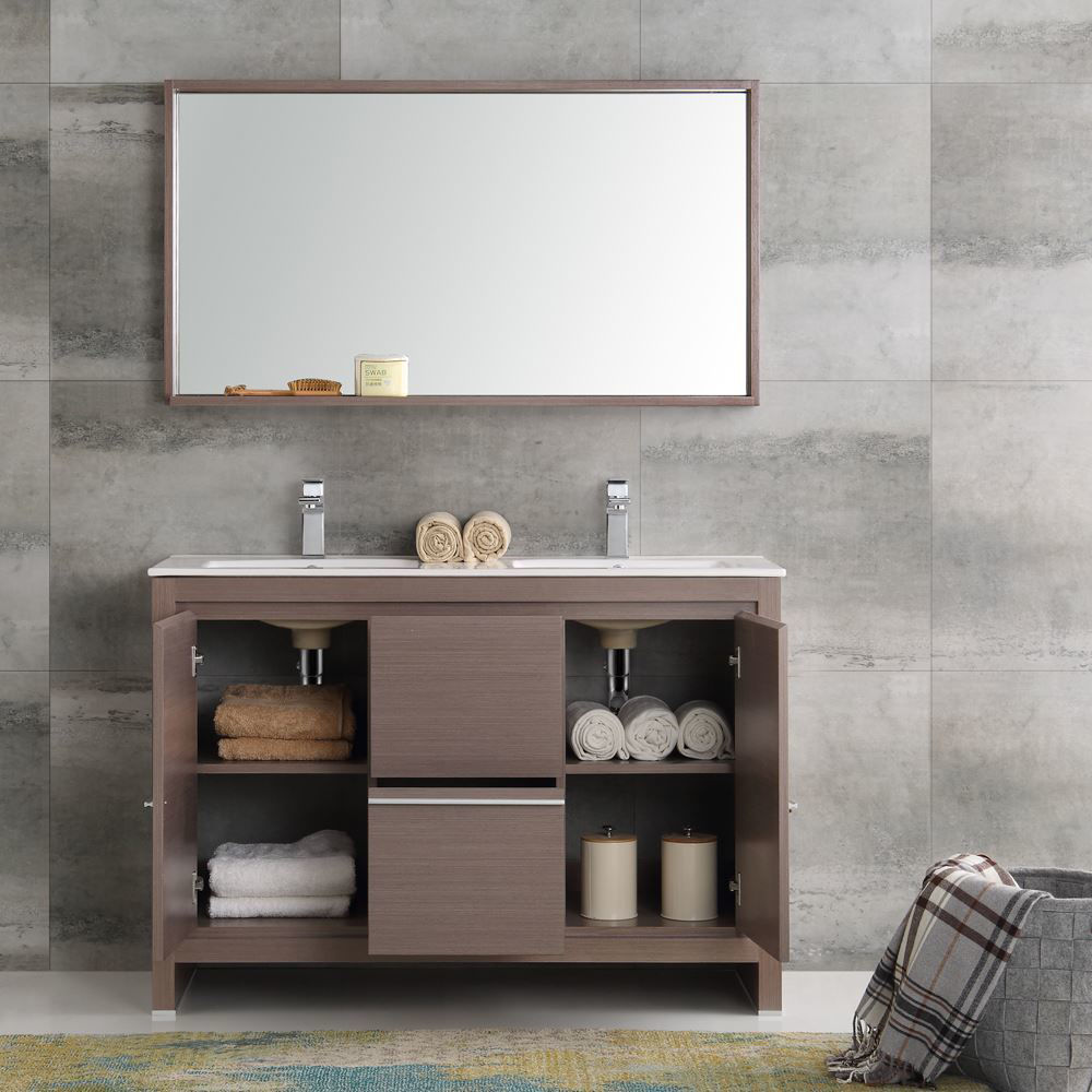 "Picture of Fresca Allier 48"" Gray Oak Modern Double Sink Bathroom Vanity w/ Mirror"