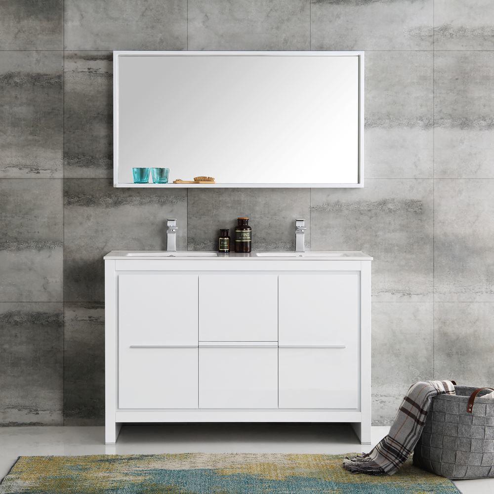 "Picture of Fresca Allier 48"" White Modern Double Sink Bathroom Vanity w/ Mirror"
