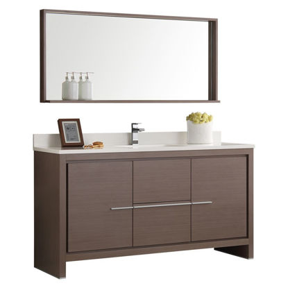 "Picture of Fresca Allier 60"" Gray Oak Modern Single Sink Bathroom Vanity w/ Mirror"
