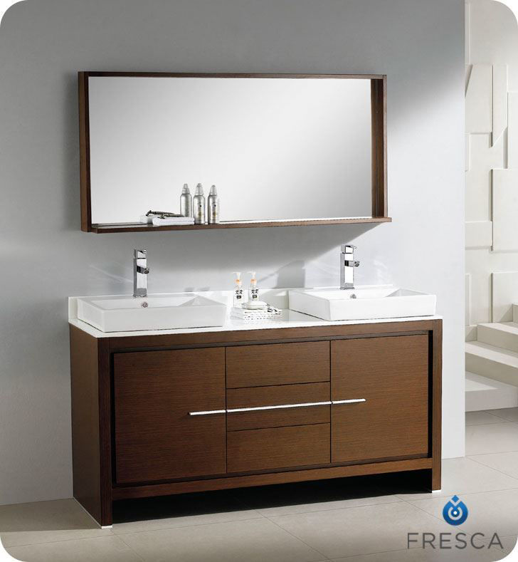 "Picture of Fresca Allier 60"" Wenge Brown Modern Double Sink Bathroom Vanity w/ Mirror"