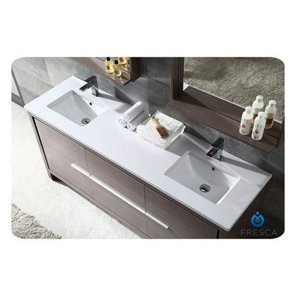 "Picture of Fresca Allier 72"" Gray Oak Modern Double Sink Bathroom Vanity w/ Mirror"