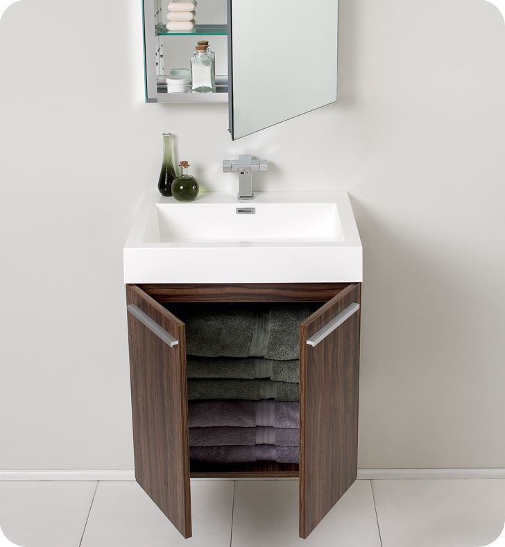"Picture of Fresca Alto 23"" Walnut Modern Bathroom Vanity with Medicine Cabinet"