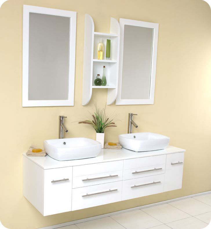 "Picture of Fresca Bellezza 59"" White Modern Double Vessel Sink Bathroom Vanity"