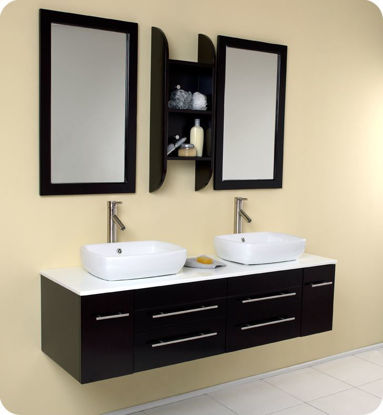 Picture of Fresca Bellezza Espresso Modern Double Vessel Sink Bathroom Vanity