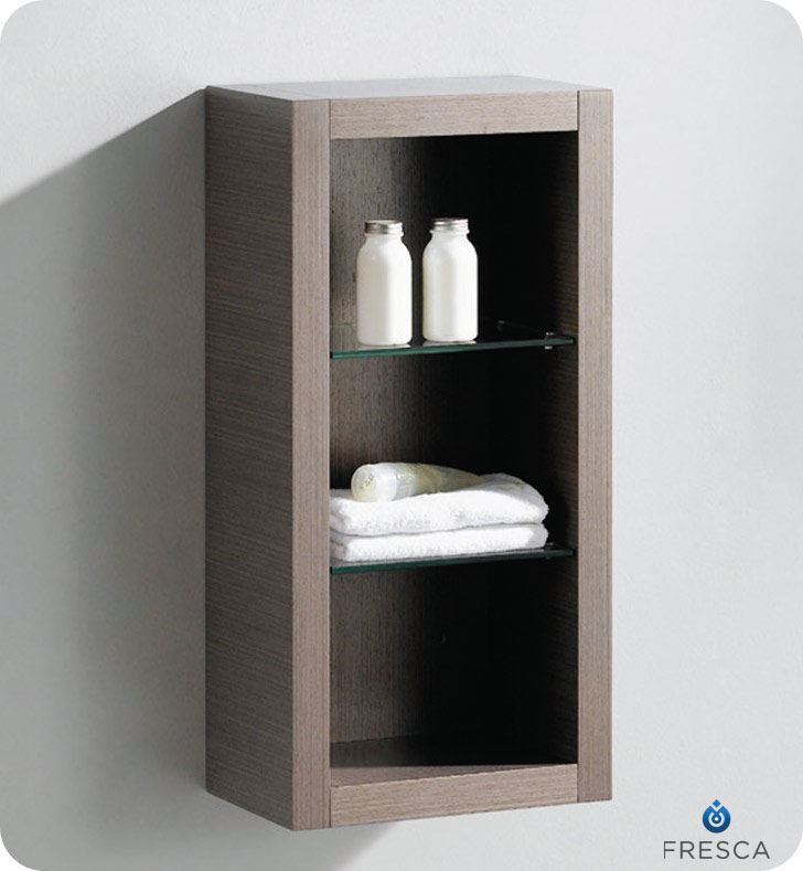 Picture of Fresca Gray Oak Bathroom Linen Side Cabinet w/ 2 Glass Shelves