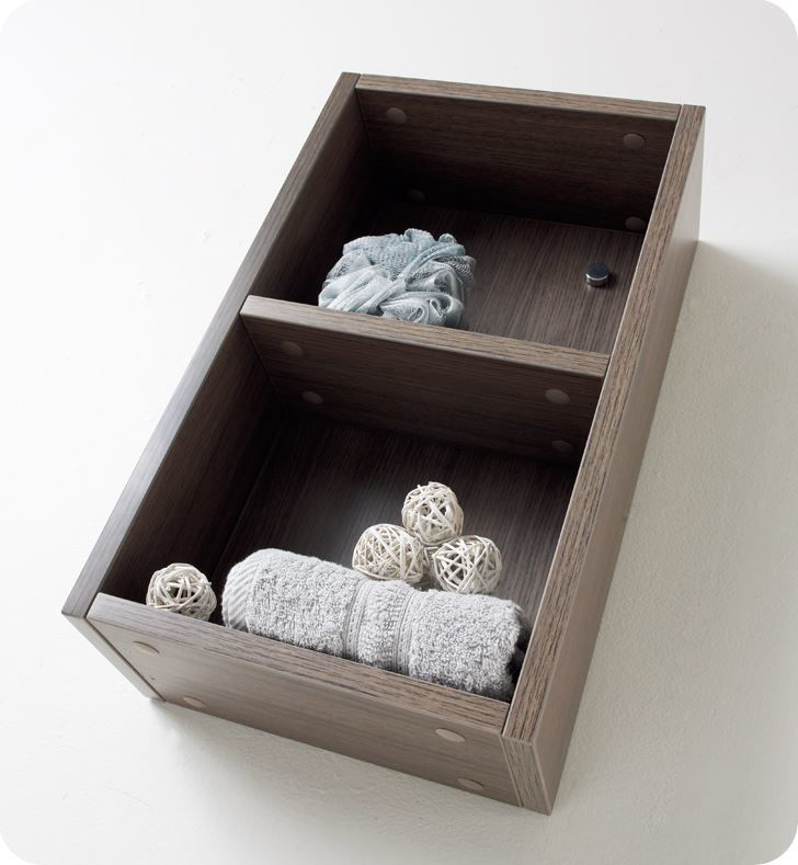 Picture of Fresca Gray Oak Bathroom Linen Side Cabinet w/ 2 Open Storage Areas