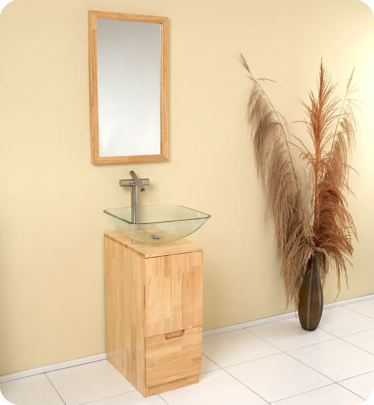 Picture of Fresca Brilliante Natural Wood Modern Bathroom Vanity with Mirror