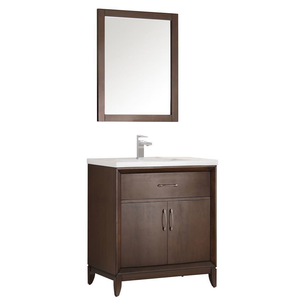 "Picture of Fresca Cambridge 30"" Antique Coffee Traditional Bathroom Vanity w/ Mirror"