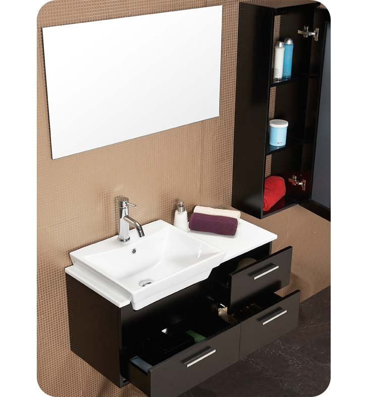 "Picture of Fresca Caro 36"" Espresso Modern Bathroom Vanity with Mirrored Side Cabinet"