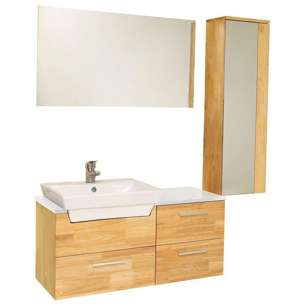 "Picture of Fresca Caro 36"" Natural Wood Modern Bathroom Vanity with Mirrored Side Cabinet"
