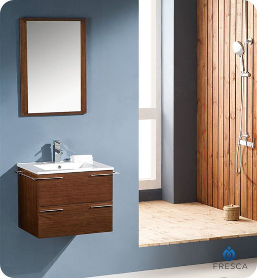 "Picture of Fresca Cielo 24"" Wenge Brown Modern Bathroom Vanity w/ Mirror"