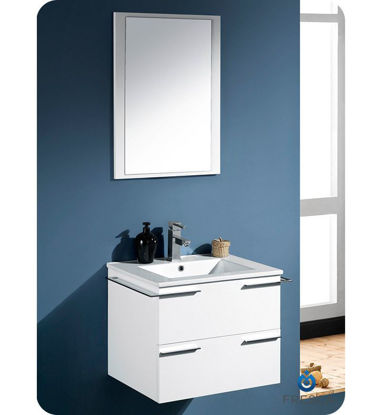 "Picture of Fresca Cielo 24"" White Modern Bathroom Vanity w/ Mirror"