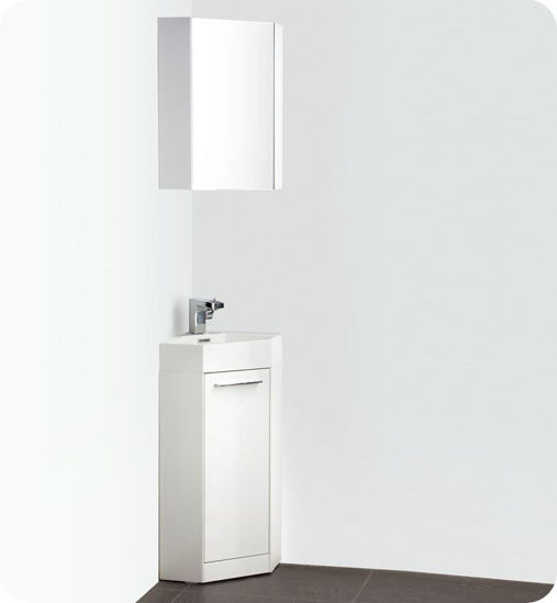 "Picture of Fresca Coda 14"" White Modern Corner Bathroom Vanity"