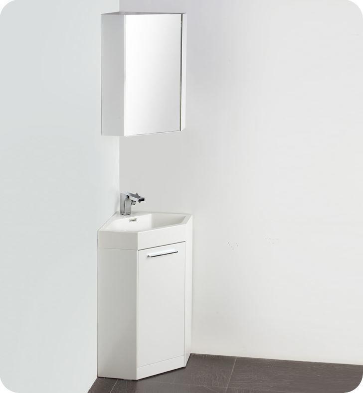"Picture of Fresca Coda 18"" White Modern Corner Bathroom Vanity"