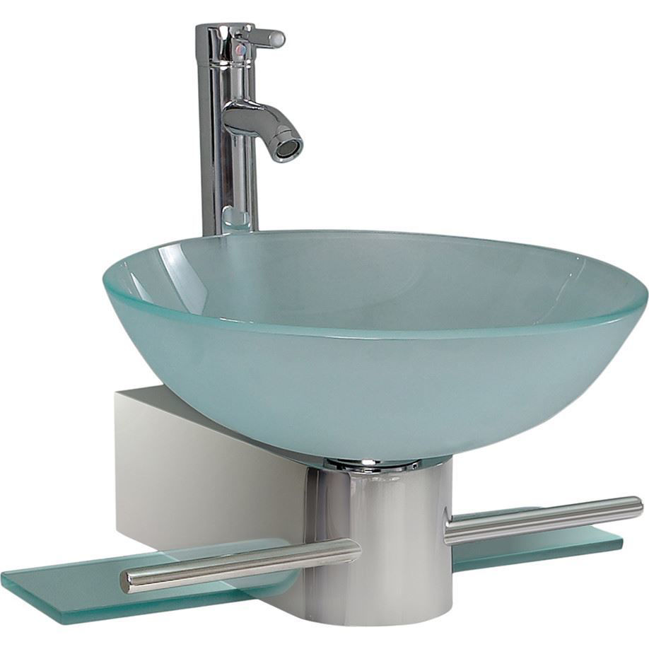 "Picture of Fresca Cristallino 18"" Modern Glass Bathroom Vanity with Frosted Vessel Sink"