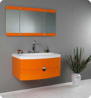 "Picture of 36"" Orange Modern Bathroom Vanity with Three Panel Folding Mirror"