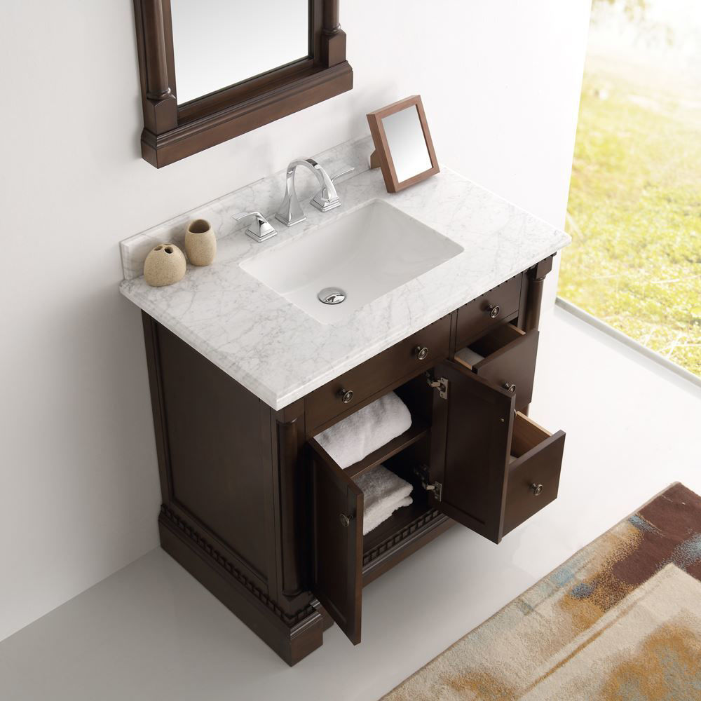 """Picture of Fresca Kingston 37"""" Antique Coffee Traditional Bathroom Vanity w/ Mirror"""