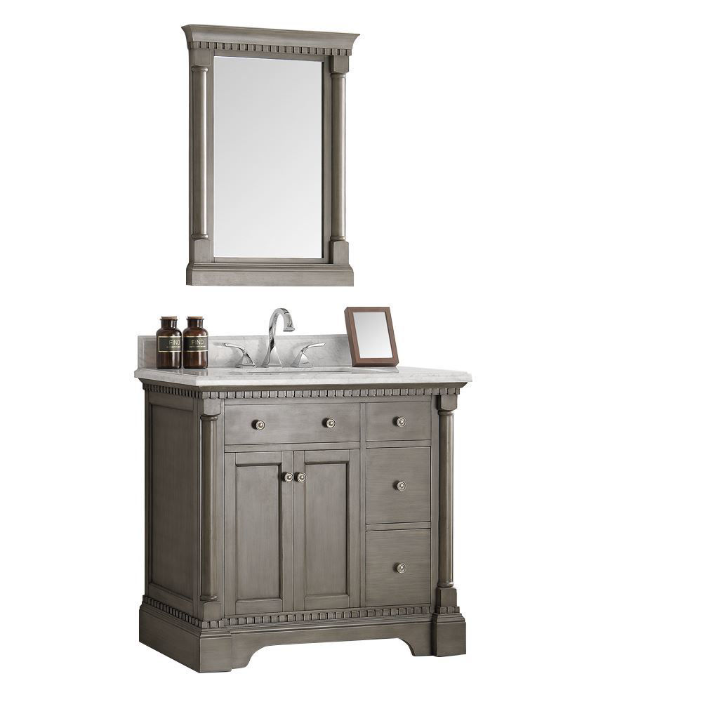 "Picture of Fresca Kingston 37"" Antique Silver Traditional Bathroom Vanity w/ Mirror"