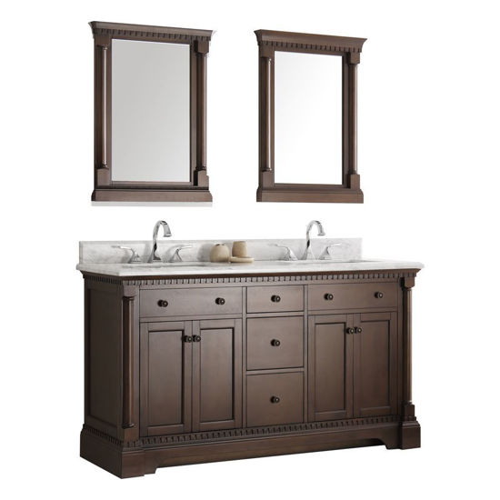 "Picture of Fresca Kingston 61"" Antique Coffee Double Sink Traditional Bathroom Vanity with Mirrors"