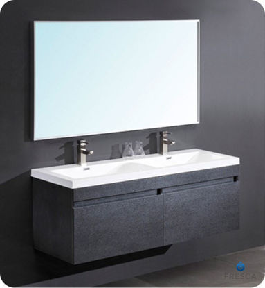 "Picture of Fresca Largo 57"" Black Modern Bathroom Vanity with Wavy Double Sinks"