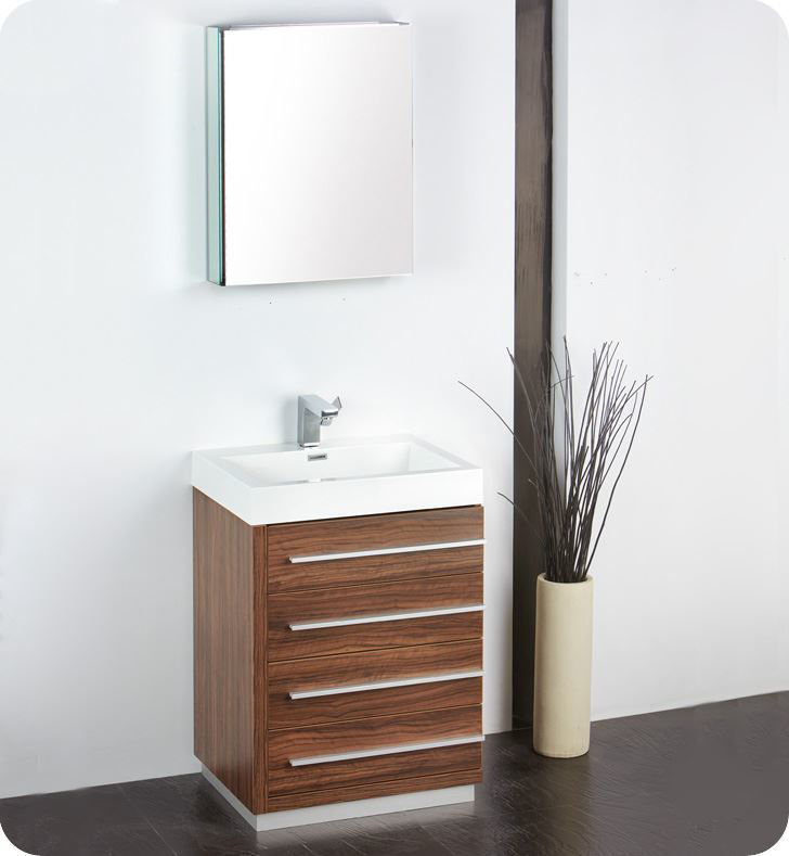 "Picture of Fresca Livello 24"" Walnut Modern Bathroom Vanity w/ Medicine Cabinet"