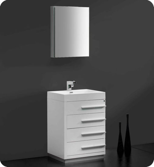 "Picture of Fresca Livello 24"" White Modern Bathroom Vanity w/ Medicine Cabinet"