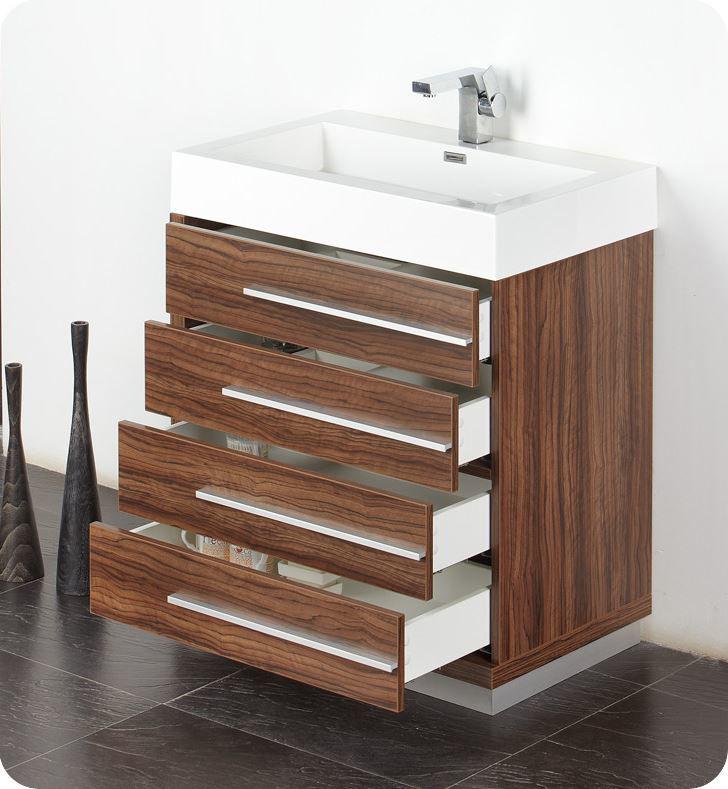 "Picture of Fresca Livello 30"" Walnut Modern Bathroom Vanity w/ Medicine Cabinet"