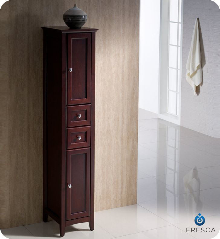 Picture of Fresca Oxford Antique Mahogany Tall Bathroom Linen Cabinet