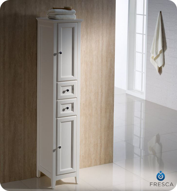 Picture of Fresca Oxford Antique White Tall Bathroom Linen Cabinet