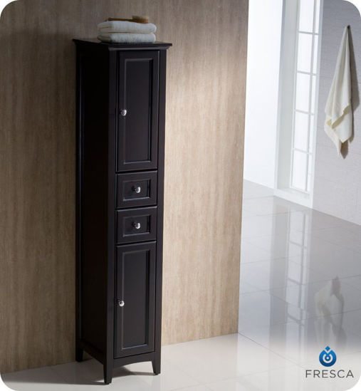 Picture of Fresca Oxford Espresso Tall Bathroom Linen Cabinet