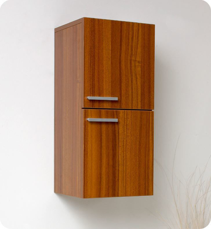 Picture of Fresca Teak Bathroom Linen Side Cabinet with 2 Storage Areas