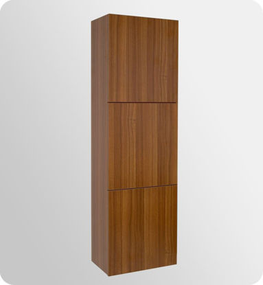Picture of Fresca Teak Bathroom Linen Side Cabinet with 3 Large Storage Areas