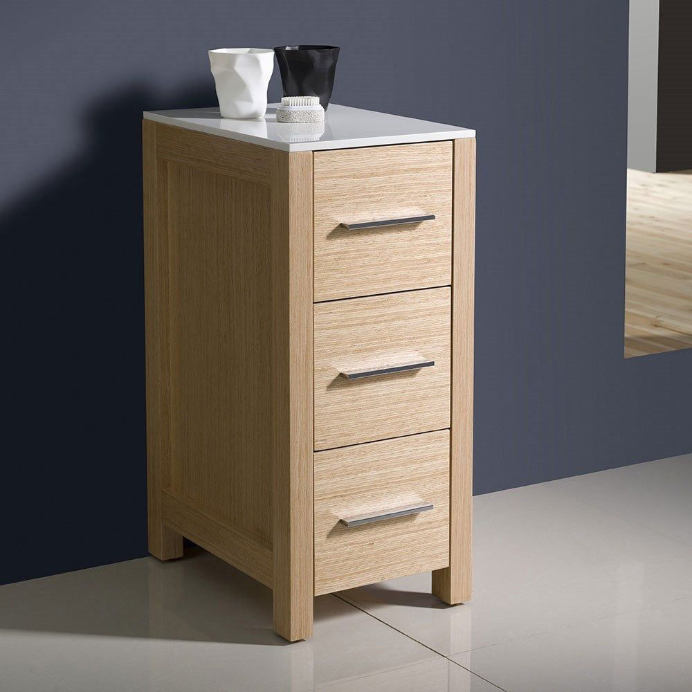 "Picture of Fresca Torino 12"" Light Oak Bathroom Linen Side Cabinet"