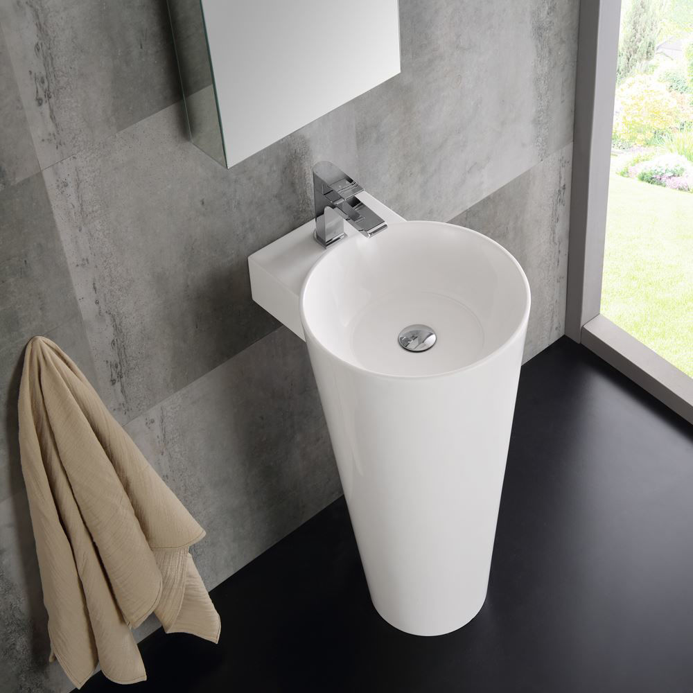 "Picture of Fresca Messina 16"" White Pedestal Sink with Medicine Cabinet - Modern Bathroom Vanity"