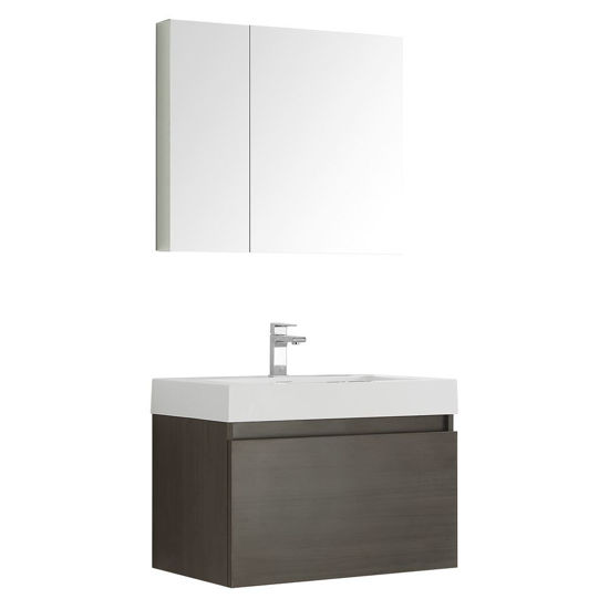 "Picture of Fresca Mezzo 30"" Gray Oak Wall Hung Modern Bathroom Vanity with Medicine Cabinet"