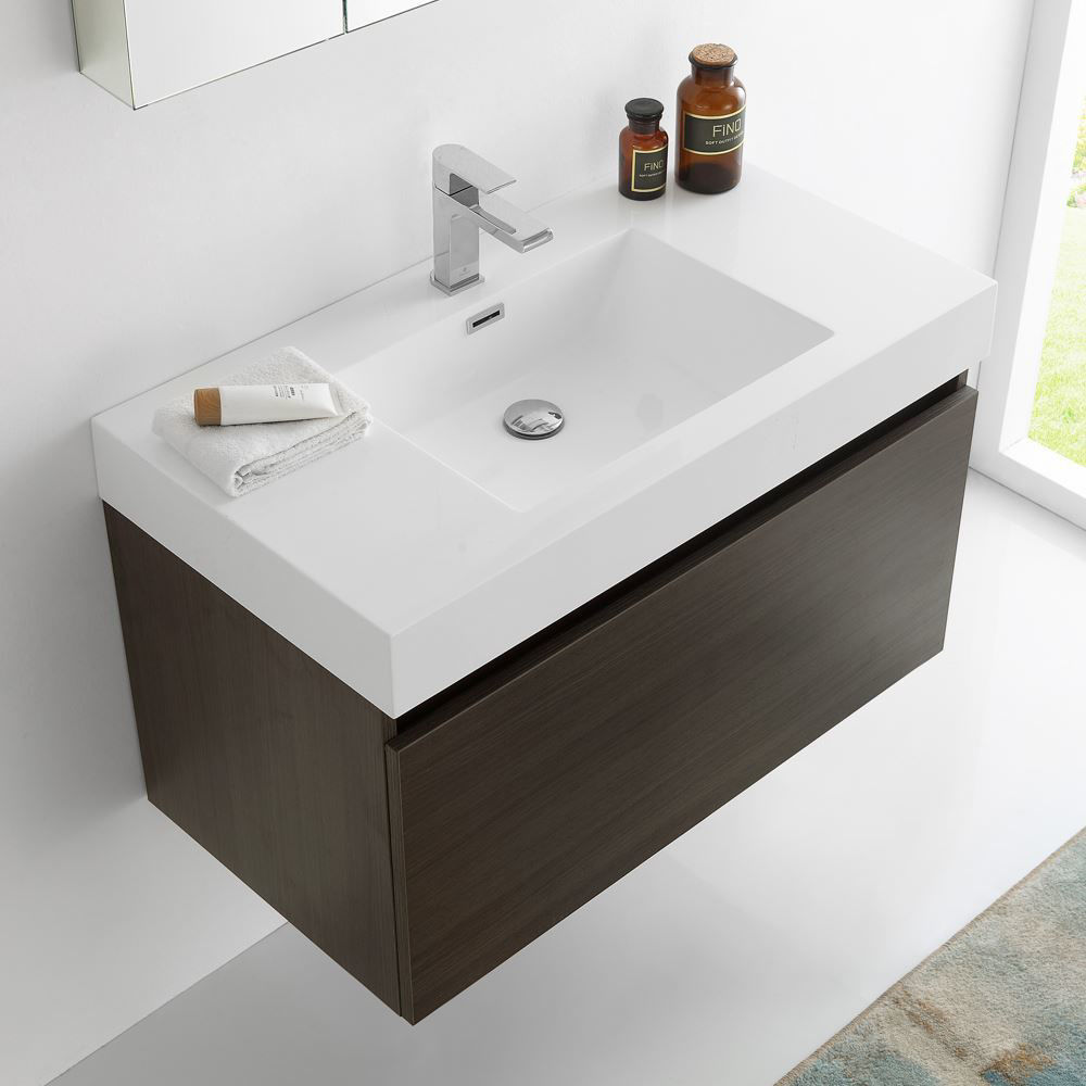 "Picture of Fresca Mezzo 36"" Gray Oak Wall Hung Modern Bathroom Vanity with Medicine Cabinet"