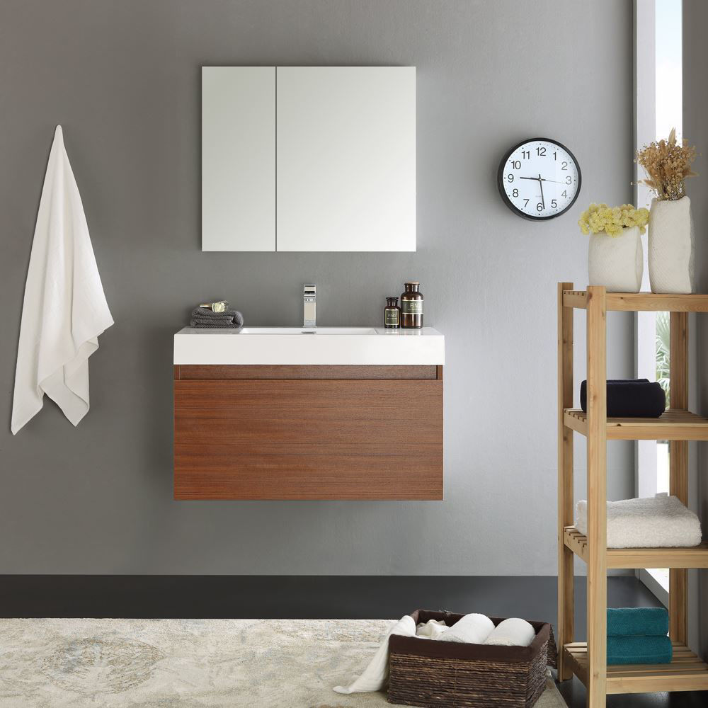 "Picture of Fresca Mezzo 36"" Teak Wall Hung Modern Bathroom Vanity with Medicine Cabinet"