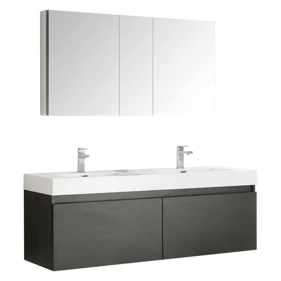 "Picture of Fresca Mezzo 60"" Black Wall Hung Double Sink Modern Bathroom Vanity w/ Medicine Cabinet"