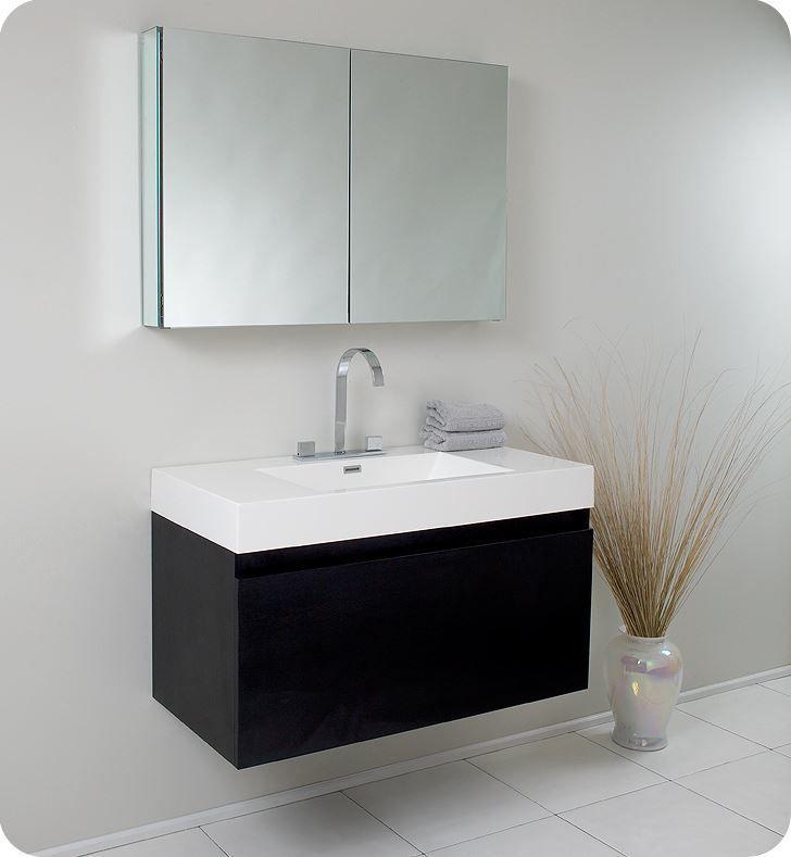 Picture of Fresca Mezzo Modern Bathroom Vanity with Medicine Cabinet in Black